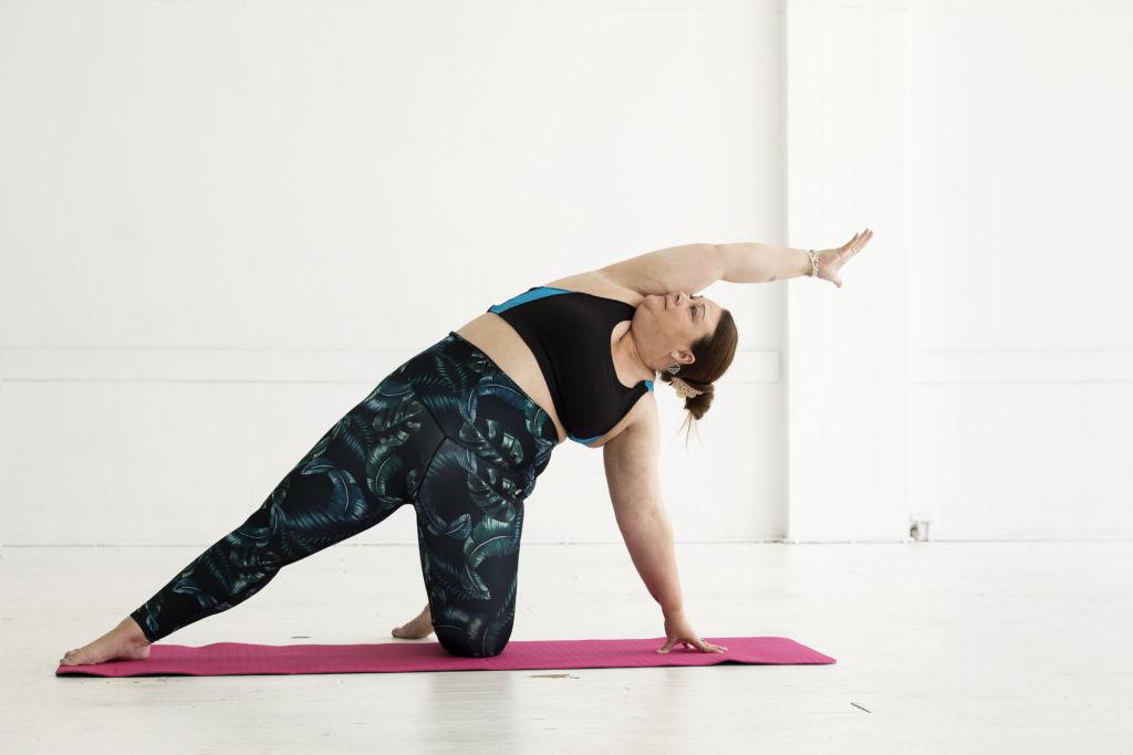 This Girl Can - Victoria ambassador Sarah stretching while doing yoga